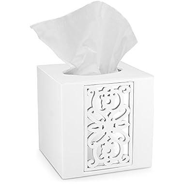 Mirror Janette Tissue Box Cover Square (6 x 6  x 6 ) – Decorative Bath Tissues Paper Napkin Holder- Modern Serviette Napkins Container- Bottom Slider (White)