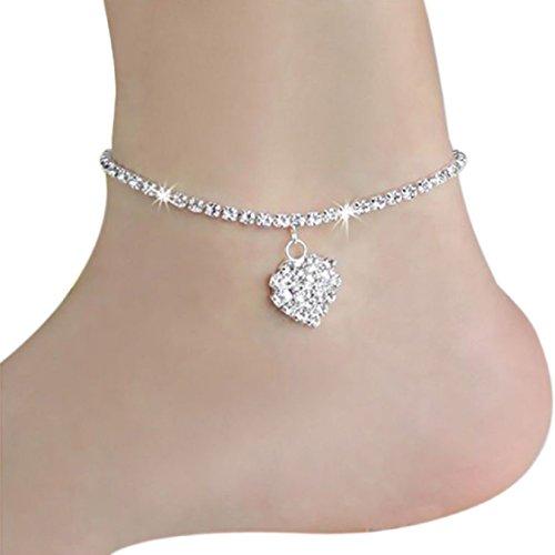 Ikevan Fashion Women Ankle Chain Anklets Diamond Pendant Bracelet Barefoot Sandal Beach Foot Jewelry Gift Silver