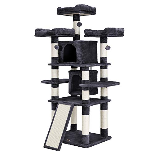 "FEANDREA 67"" Multi-Level Cat Tree for Large Cats, with Cozy Perches, Stable Cat Tower Cat Condo Pet Play House UPCT18G"