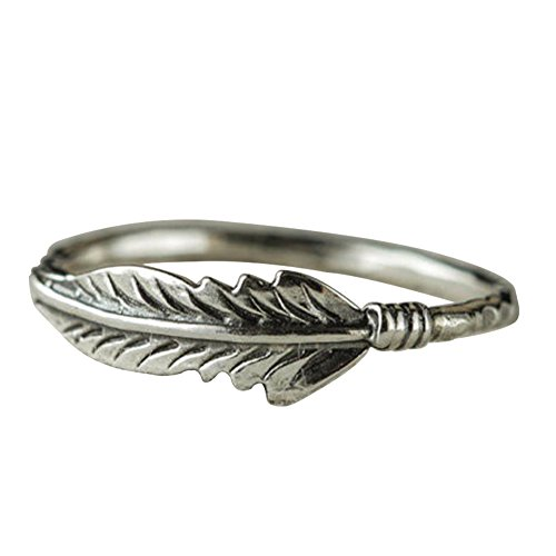 Afco Retro Antique Silver Plated Feather Finger Ring Women Christmas Charm Jewelry Antique Silver 9