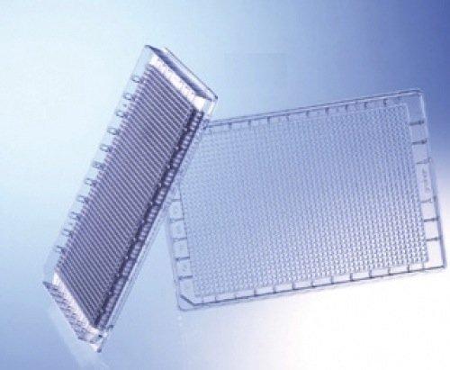 Greiner Bio-One 782900 Black Polystyrene HiBase Non-Binding Microplate, Flat Bottom, 1536 Well (Pack of 60)