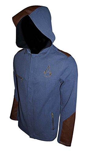 Assassins Creed Unity Finition Denim Premium Ultra Légère pour Homme avec Capuche attachée (Petit, Bleu)