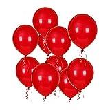 JOJOR Rote Luftballon Helium,100 Stück Rot Ballons Latex Ø 30cm für Hochzeit Bride Valentinstag Verlobung, Geburtstag Taufe JGA Party Deko Rot