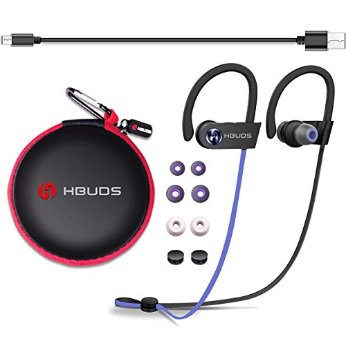 Hbuds Sports Bluetooth Headphones Wireless, Running Earphones Earbuds IPX7 Waterproof/Sweatproof with Built-in Mic Noise Canceling Up to 9 Hrs Playtime for Gym Workout Communicate for iPhone iPad Sony