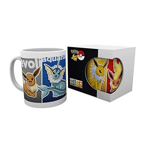 Lively Moments Pokemon Tasse / Trinkbecher mit Evoli und Entwicklungsstufen Aquana, Blitza & Flamara / Keramiktasse / Kaffeetasse