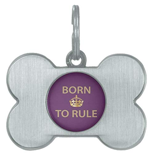 Stainless Steel Pet ID Tags, Born to Rule with Golden Crown Pet ID Tag, Dog Tags, Cat Tags, Bone Shaped ID Tag for Dogs and Cat