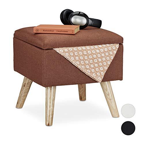 Relaxdays Hocker mit Stauraum, Kunstleinen-Bezug, gepolstert, Holzbeine, Fußhocker mit Deckel, HBT: 40x40x40 cm, braun, 1 Stück