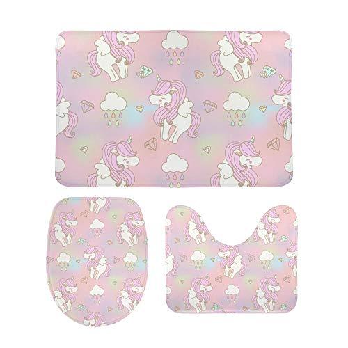 CHEHONG - Juego de alfombrillas de baño con diseño de unicornio, incluye alfombrilla de contorno en forma de U, antideslizante, extra suave, espuma viscoelástica de coral, Terciopelo coral, Color1, talla única