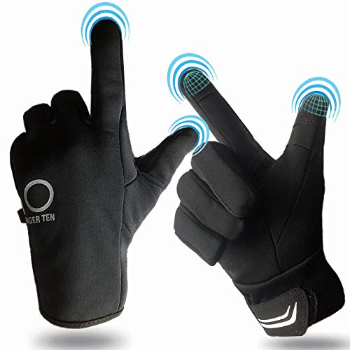 Lightweight Running Gloves Men Women Touch Screen Waterproof, Warm Winter Gloves Thick Thermal Grip Outdoor Sports Cycling Driving(Black, Large)