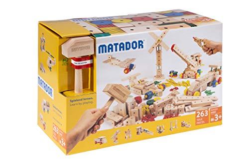 Matador 21263 M263 Baukasten, holzfarben, bunt