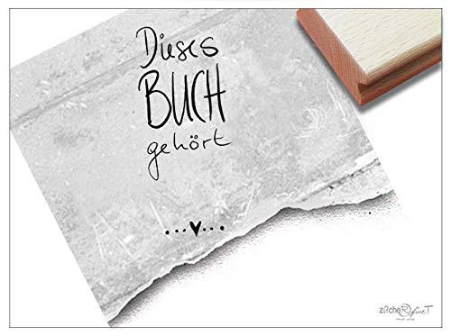 Stempel EX LIBRIS Stempel Dieses Buch GEHÖRT.mit Herz - Buchstempel Schulstempel Geschenk für Kinder Kita Schule Bibliothek - zAcheR-fineT