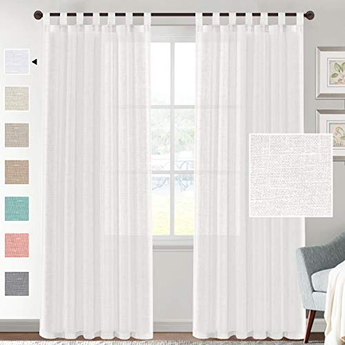 H.VERSAILTEX Linen Sheer White Curtains 84 Inch Length - Semi Sheer Tab Top Curtain Sets for Living Room/Bedroom Privacy and Sunlight Filtering, 2 Panels