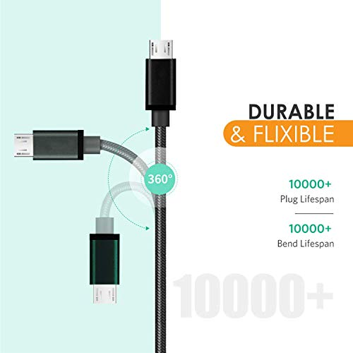 Nylon USB Cable Compatible for Xiomi Redmi Note 5/ Redmi Note 5 Pro/Redmi 5 Plus (Redmi Note 5)/ Redmi 5/ Redmi 5A Micro USB Data Cable| Quick Fast Charging Cable| Transfer Android V8 Cable (2.8Amp)