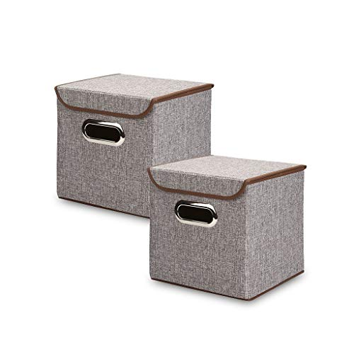 K-C-M Foldable Storage Box with Lid Square Container Storage Bin (Grey, 2 Pack 10 x 10 x 10 inchs)