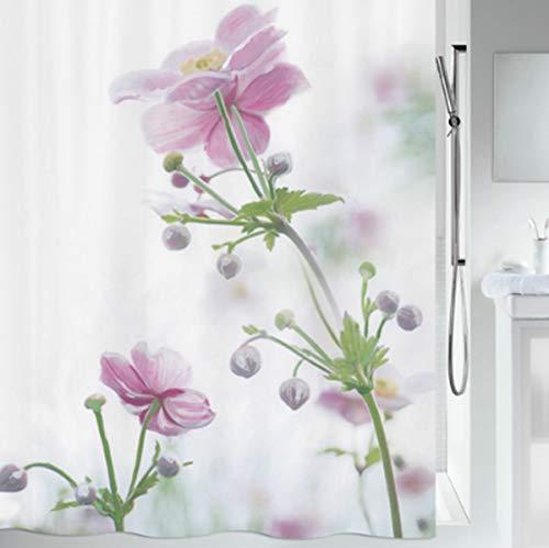 """Spirella Anti-Schimmel Duschvorhang - Anti-Bakteriell, waschbar, wasserdicht, Polyester, """"Anemone Blumen"""" 180x200cm"""