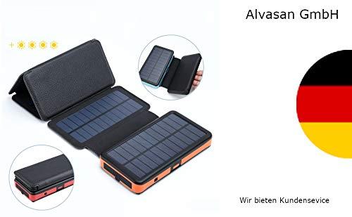 Alvasan Powerbank van 10.000 mAh, met 6 zonnepanelen en USB Dual Charging Outdoor Trekking en Camping
