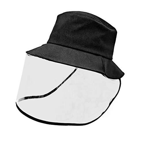 FakeFace Gesichtsschutzschild Hut schwarzer Schlapphut mit abnehmbarem Gesichtsschutz Abdeckung Anti-Staub Schutz Hut Angelnhut Reise Sonnenblende Hut Wasserdicht
