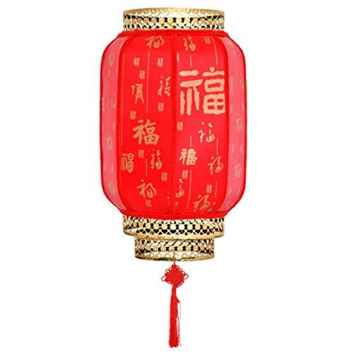 Chinesische traditionelle rote Laterne, chinesisches Neujahr, Frühling, Festival, Dekoration, Stoff-Hängelampe, Palast-Schattierung, Außenbeleuchtung, wasserdichte chinesische Laterne, 2 Stück Red Fu