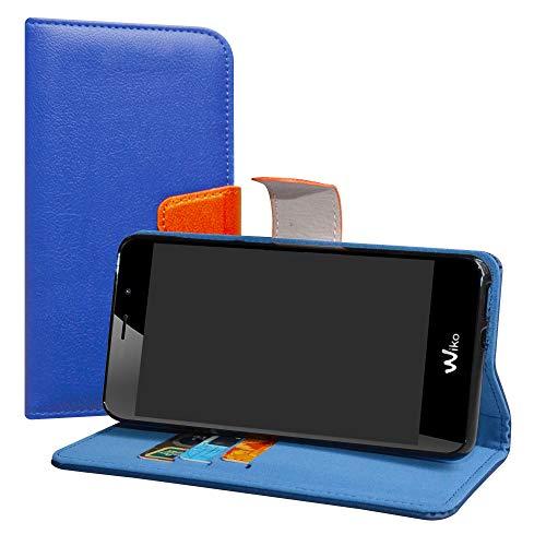LiuShan Wiko Tommy 3 Hülle, Brieftasche Handyhülle Schutzhülle PU Leder mit Kartenfächer & Standfunktion für Wiko Tommy 3 Smartphone (mit 4in1 Geschenk verpackt),Deep Blau