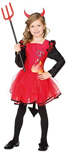 Teufel-Kleid in Rot/Schwarz | Teufelin-Kostüm für Kinder für Karneval und Halloween (140)