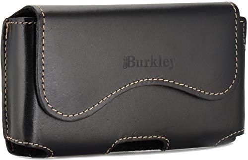 Burkley Gürteltasche für Samsung Galaxy S9 Handyhülle Schutzhülle geeignet für Galaxy S9 Hülle mit Gürtel-Schlaufe (Horizontal/Antik Schwarz)