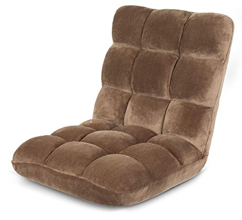 BIRDROCK HOME Adjustable 14-Position Memory Foam Floor Chair - Padded Gaming Chair - Comfortable Back Support - Rocker - Great for Reading Games Meditating - Fully Assembled - Brown