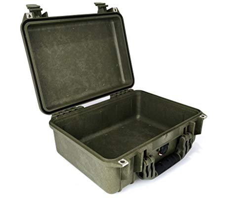 PELI 1450 Maleta protectora estanca de polipropileno para dispositivos electrónicos, cámaras, drones y más, IP67 estanca, 15L de capacidad, fabricada en Alemania, sin espuma, OD Green
