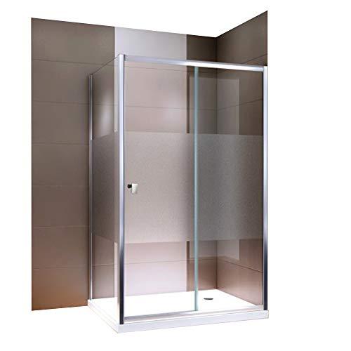 Duschabtrennung Schiebetür EX504-Kombi Milchglas Streifen NANO Rechts- oder Linkseinstieg Easy-Clean-Funktion Dusche mit Alu-Rahmen, Maße Duschkabine:120x80cm, Duschtasse:Ohne Duschtasse