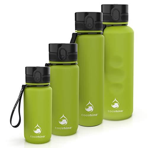 coolrhino Botella de agua de 650 ml para deportes, exterior, escuela, fitness y niños, botella de agua antigoteo y libre de BPA, adecuada para ácido carbónico (Rhino Lime Green, 650 ml)
