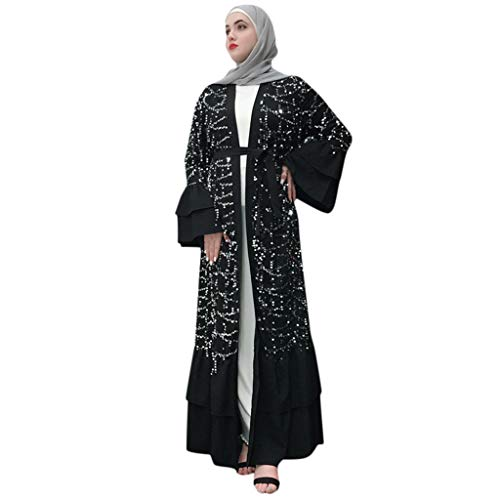 Abaya Femme Musulmane Dubai,Femmes Musulmanes Maxi Robe Robe Broderie Abaya Cardigan Ouverte Dubai Prière Ramadan Confortable Chic Robe