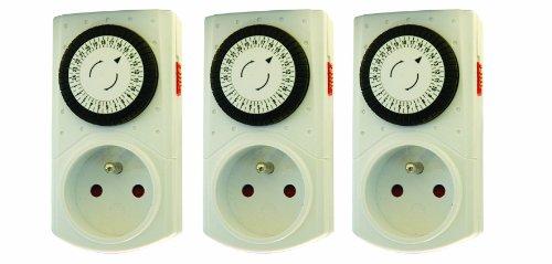 Chacon 54017 Set de 3 programmateurs mécaniques, Blanc