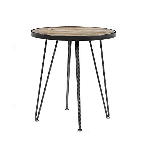 Desk Xiaolin Table Basse Petite Table d'extrémité Ronde Solide Table d'angle en Bois Massif pour Salon Style Industriel Look Vintage Cadre en métal