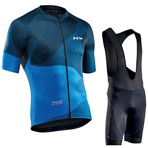 VISSJF Mens Cycling Jersey, Cycling Jersey Set Jersey + 12D Gel Padded Bib Pants Cycling Suit WXY003,M