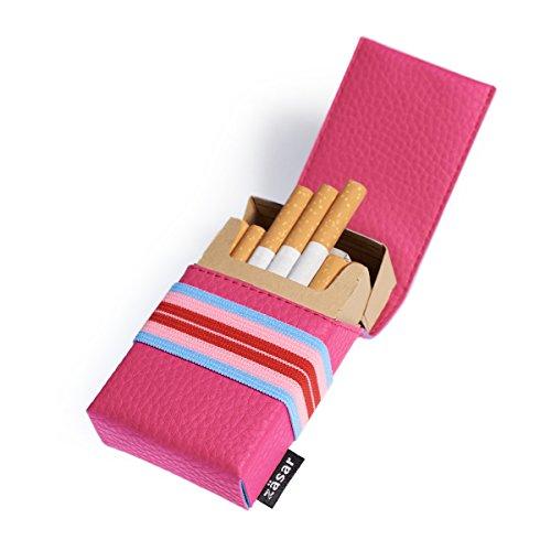 FLAPCASE N°1 • DISCO • Designer Zigarettenetui, Made in Austria, Gummiband, Leder vegan Zigarettenbox für 19, 20, 21 Packungen, regular King-Size