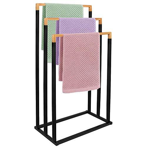 SPRINGOS Handtuchständer mit 3 Handtuchstangen, für Badezimmer, freistehend, nachhaltig, Badaccessoire für Handtücher, für Kleidung, Metall (Schwarz - 3 Handtuchstangen)
