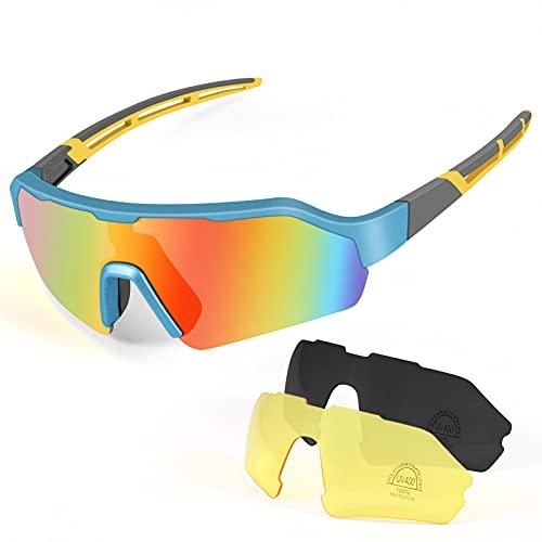 Gafas de Ciclismo Polarizadas Protección UV400, KNMY Gafas de Sol Deportivas con 3 Lentes Intercambiables, Gafas Deportivas Polarizadas Hombre Mujer para Ciclismo Escalada Pesca Conducción (Gris azul)