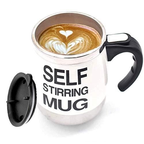 Taza de café con agitación automática JEANGO Taza de cafe Taza automezclable eléctrica de grado alimenticio de acero inoxidable Blanco