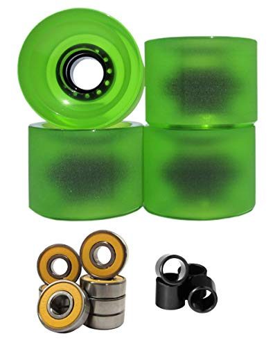 Lucid 70mm 83a Longboard Cruising Skate Wheel with Bearings and Spacers (Clear/Green)