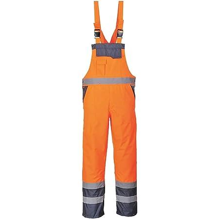 Portwest Contrast Bib and Brace - Unlined, Colour: Orange/Navy, Size: S, S488ONRS