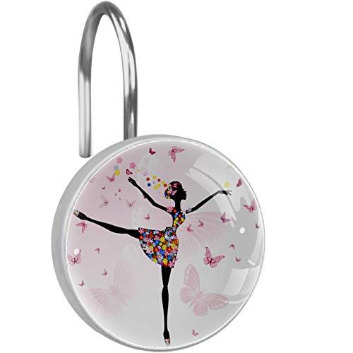 AITAI Duschvorhang-Haken, Ballerina, Mädchen, Blumen, Schmetterling, rostfrei, Badezimmer-Dekor-Haken, 12 Stück