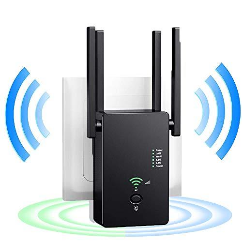 WiFi Range Extender, 1200Mbps WiFi Extender with 4 External Antennas Dual Band Mini Wireless Signal Booster, 2.4 & 5GHz Dual Band 802.11ac Standard Wireless Internet Amplifier