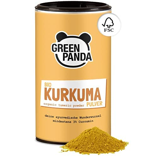 Green Panda© curcuma en polvo organica, probada y certificada en laboratorio, curcuma organica molida extra fine, perfecta para la leche dorada, 170g