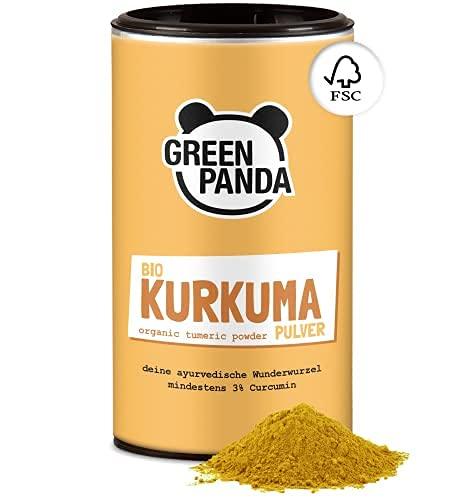 GREEN PANDA® Curcuma in polvere Bio | Curcuma Bio di altissima qualità testata e certificata | Perfetta per il golden milk | 170g