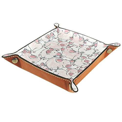 Bandeja de Cuero - Organizador - Cerdo rosa sin fisuras - Práctica Caja de Almacenamiento para Carteras,Relojes,llaves,Monedas,Teléfonos Celulares y Equipos de Oficina