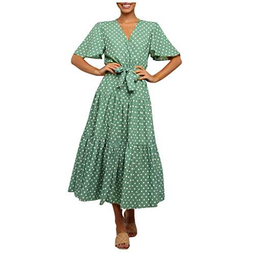 SatinGold Damen Böhmen Tunika Kleider Hoch Maxikleider Casual Sommer Strandkleider Kleid, Frauen Einfarbig Kurzarm Einfarbig Sommerkleider Blumenkleider