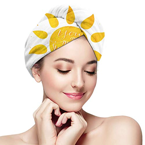 XBFHG Bathing Dry Hair Cap Aquarelle Sun You are My Quick Drying Wrapped Towel Adult Shower Bathing Head Cap