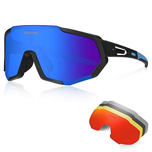 Queshark Gafas Ciclismo CE Certification 1 Polarizadas 4 HD Lentes Intercambiables UV 400 Gafas,Corriendo,Moto MTB Bicicleta Montaña,Camping y Actividades al Aire Libre para Hombres y Mujeres TR-90