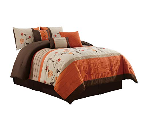 Chezmoi Collection Serene 7-Piece Floral Scroll Embroidery Pleated Striped Comforter Set (Queen, Orange)