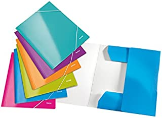 Leitz 3-Flap Folder, Holds up to 250 A4 Sheets, Elastic Closure, Flexible Plastic, Assorted Set of 6, Wow Range, 39821099