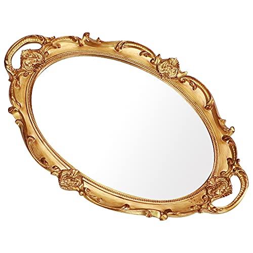 LZYMSZ Bandeja decorativa para espejo, vintage, ovalada, para perfume, maquillaje,